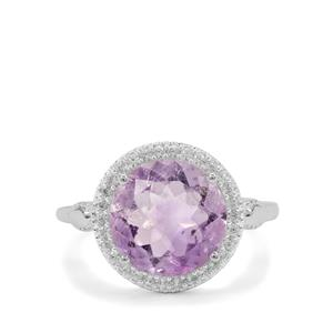 Moroccan Amethyst Ring with White Zircon in Sterling Silver 4.85cts
