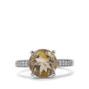 Bahia Rutilite & White Zircon Sterling Silver Ring ATGW 3.34cts
