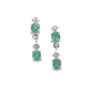 Zambian Emerald Earrings with Diamond in Sterling Silver 1.37cts