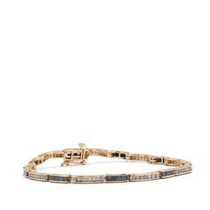 Blue Diamond Bracelet with White Diamond in 9K Gold 2.50ct