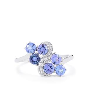 AA Tanzanite Ring with Ceylon White Sapphire in 10k White Gold 1.45cts