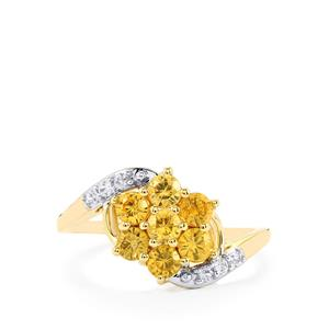 Ceylon Zircon & White Sapphire 9K Gold Ring ATGW 1.32cts