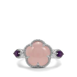 Pink Chalcedony & Ametista Amethyst Sterling Silver Ring ATGW 5.16cts