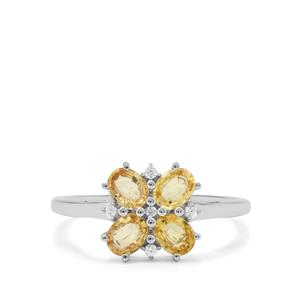 Tanzanian Canary Sapphire & White Zircon 9K White Gold Ring ATGW 1.30cts