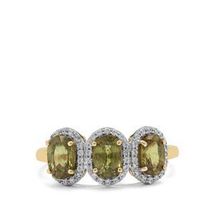 Namibian Demantoid Garnet & White Zircon 9K Gold Ring ATGW 2.15cts