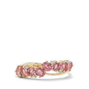 Padparadscha Sapphire & Diamond 9K Gold Ring ATGW 1.46cts