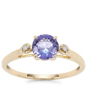 AA Tanzanite Ring with Diamond in 9K Gold 1cts
