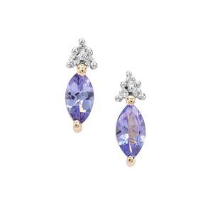 AA Tanzanite & White Zircon 9K Gold Earrings ATGW 0.74ct