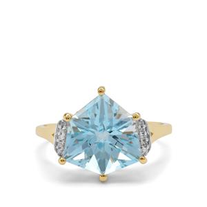 Alpine Cut Sky Blue Topaz Ring with Diamond in 9K Gold 5.65cts