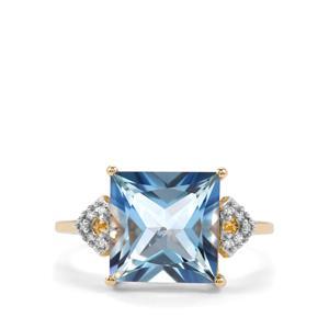 Santa Maria Topaz & Diamond 9K Gold Ring ATGW 5.93cts