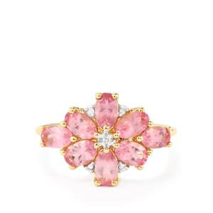 Pink Spinel Ring with Diamond in 10k Gold 2.14cts