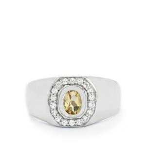 Champagne Quartz & White Topaz Sterling Silver Ring ATGW 1.18cts