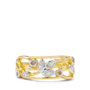 Diamond Gold Flash Sterling Silver Ring