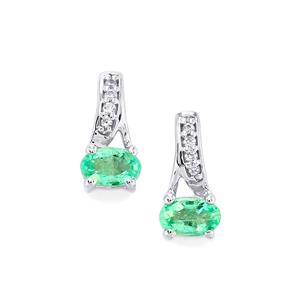 Siberian Emerald Earrings with White Sapphire in 10k White Gold 0.47cts