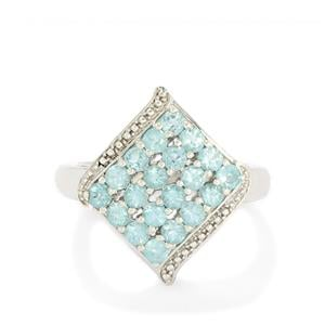 1.46ct Madagascan Blue Apatite Sterling Silver Ring