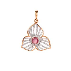 Thai Ruby Pendant with Diamond in 9K Gold 0.84ct