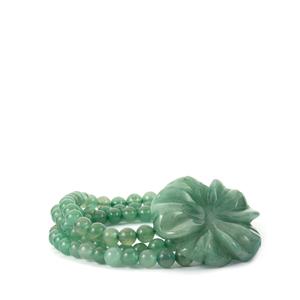 237.50ct Green Aventurine Elastic Flower Bracelet