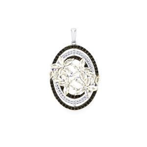 Black Spinel with White Topaz Pendant in Sterling Silver 3.94cts