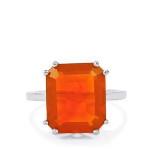 6.20ct AA Orange American Fire Opal Sterling Silver Ring
