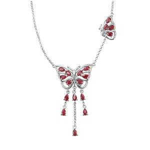 Bangalore Ruby & White Zircon Sterling Silver Butterfly Necklace ATGW 5.32cts