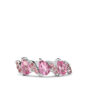 Natural Pink Fluorite & Kaffe Tourmaline Sterling Silver Ring ATGW 1.74cts
