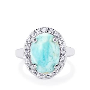 Larimar & White Topaz Sterling Silver Ring ATGW 7.30cts
