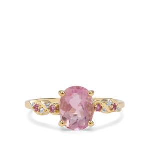 Natural Pink Fluorite, Sakaraha Pink Sapphire & White Zircon 9K Gold Ring ATGW 2.43cts
