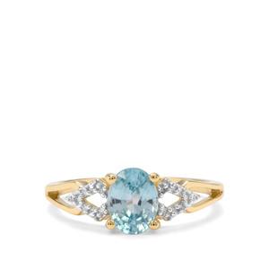 Ratanakiri Blue Zircon & Diamond 9K Gold Ring ATGW 1.97cts