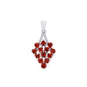 Rajasthan Garnet Pendant with White Topaz in Sterling Silver 3.94cts