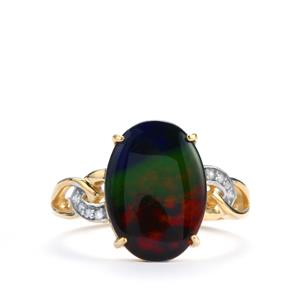 AA Ammolite Ring with White Zircon in 9K Gold (14mm x 10mm)