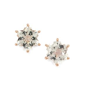 White Topaz Wobito Snowflake Earrings in 9K Rose Gold 5.69cts