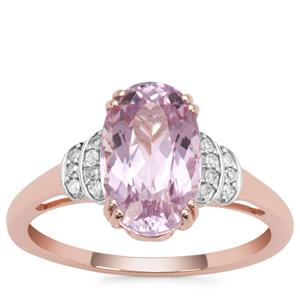 Nuristan Kunzite Ring with Diamond in 9K Rose Gold 3.74cts