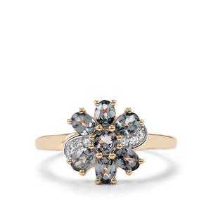 Mahenge Blue Spinel & Diamond 9K Gold Ring ATGW 1.24cts