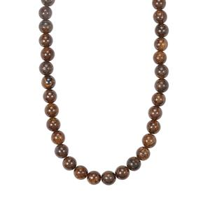 Bronzite Graduated Bead Necklace in Sterling Silver 252.25cts