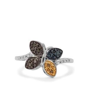 1/20ct Multi-Colour Diamond Sterling Silver Ring