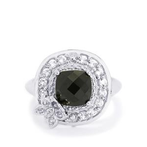 Black Spinel & White Topaz Sterling Silver Ring ATGW 3.90cts