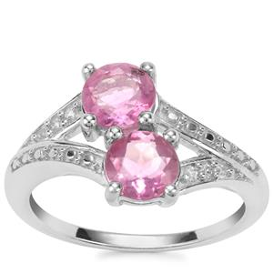 Natural Pink Fluorite Ring with White Zircon in Sterling Silver 2.13cts