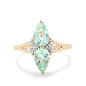 Paraiba Tourmaline Ring with Diamond in 10k Gold 1.85cts