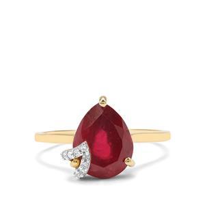 Malagasy Ruby & Diamond 9K Gold Ring ATGW 5.25cts (F)