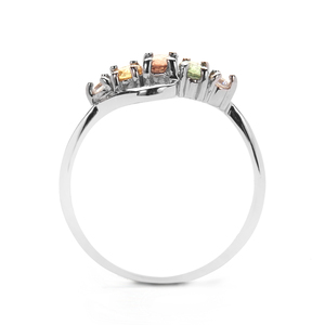 Multi-Colour Sapphire Ring with White Zircon in Sterling Silver 1cts
