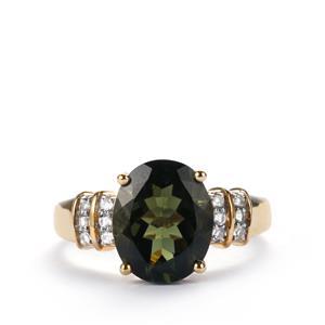 Moldavite Ring with White Topaz in 10k Gold 2.81cts
