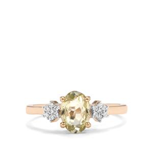 Kerala Sillimanite & White Zircon 9K Gold Ring ATGW 1.40cts