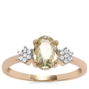 Kerala Sillimanite Ring with White Zircon in 9K Gold 1.40cts