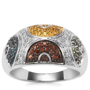 White, Yellow, Green, Blue Diamond Ring with Cognac Diamond in Sterling Silver 0.54ct