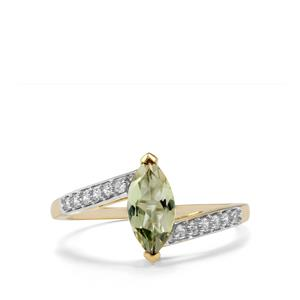 Bi Colour Tanzanite & White Zircon 10K Gold Ring ATGW 0.97cts