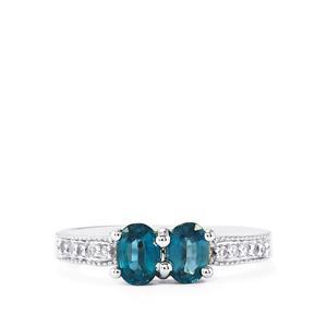 Orissa Kyanite & White Topaz Sterling Silver Ring ATGW 1.17cts