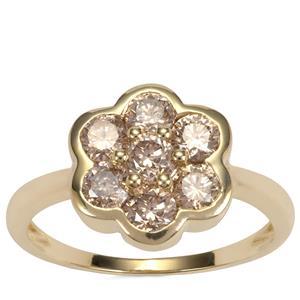 Champagne Diamond Ring in 9K Gold 1.25ct