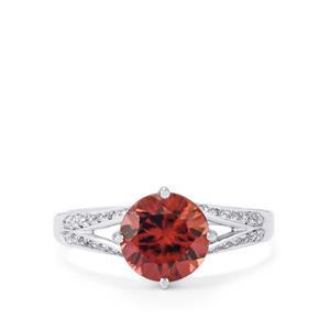 Zanzibar Zircon Ring with Diamond in 14K White Gold 3.03cts