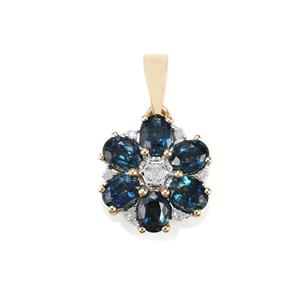 Australian Blue Sapphire & Diamond 10K Gold Pendant ATGW 1.94cts
