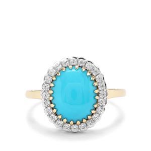 Sleeping Beauty Turquoise & White Zircon 9K Gold Ring ATGW 3.42cts